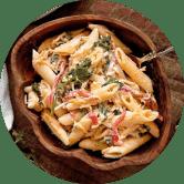 pasta and food round photo