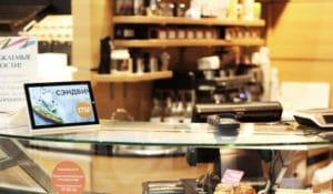 digital signage tablet in a cafe
